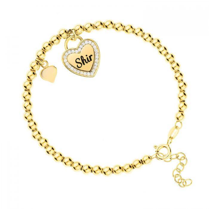 צמיד כדורים בשילוב לב מנעול ולב חלק בציפוי זהב