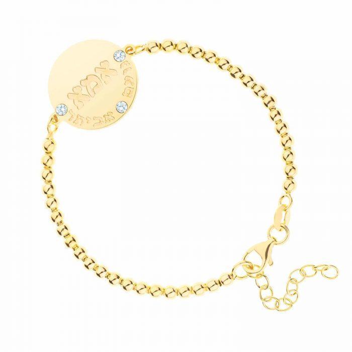 צמיד כדורים בשילוב חותם משובץ באבני סוורובסקי בציפוי זהב