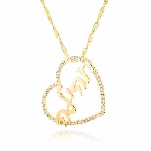 שרשרת שם עברית על תליון לב משובץ בציפוי זהב