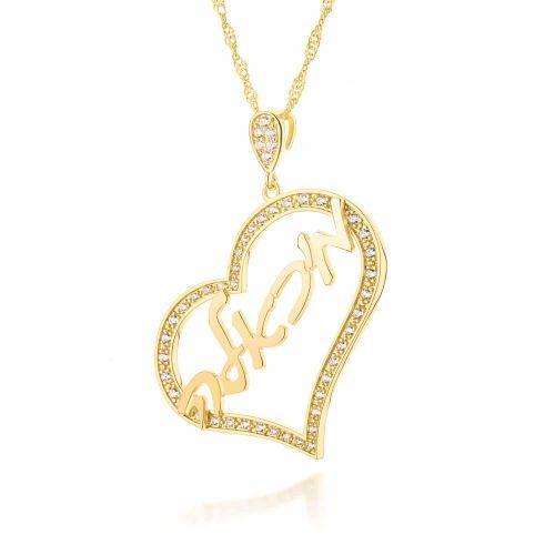 שרשרת שם עברית על תליון לב מעוצב משובץ בציפוי זהב