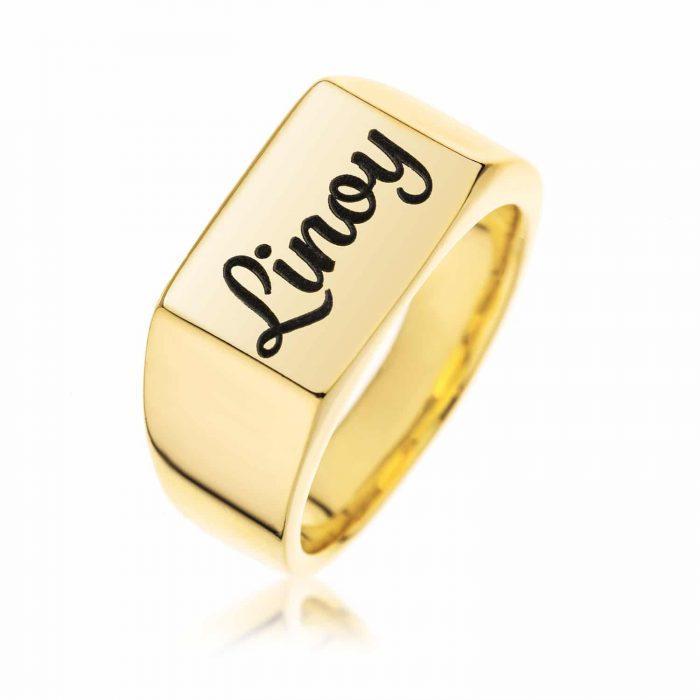 טבעת חותם מלבן בציפוי זהב