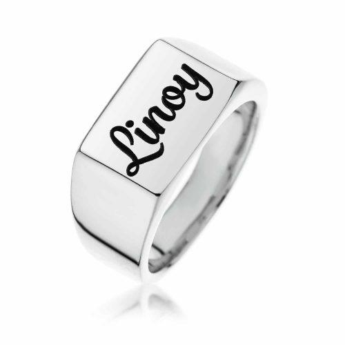 טבעת חותם מלבן מכסף 925