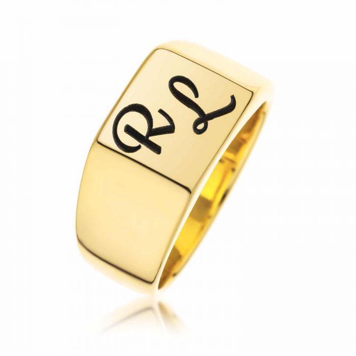 טבעת חותם מרובעת בציפוי זהב