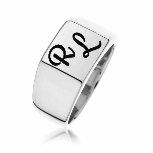 טבעת חותם מרובעת מכסף 925
