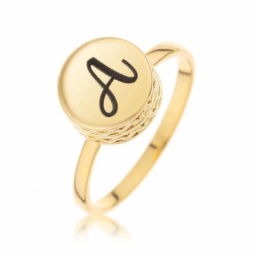 טבעת חותם קטנה בציפוי זהב