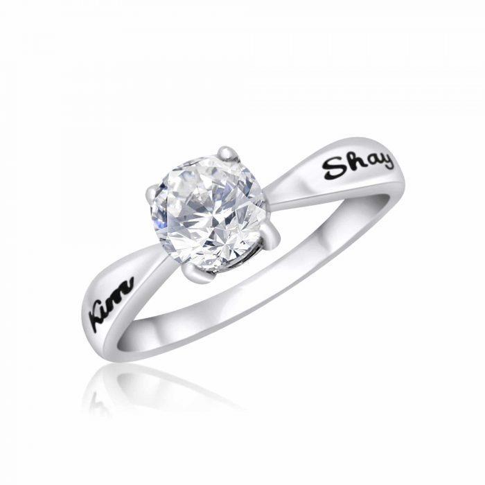 טבעת סוליטר מכסף 925