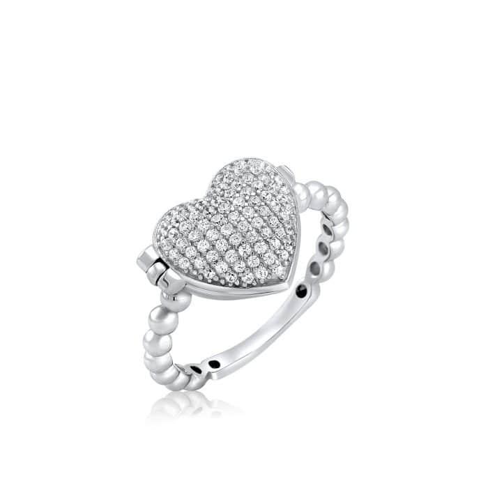 טבעת לב נפתחת משובצת בשילוב חריטה