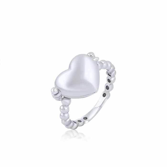 טבעת לב נפתחת חלקה בשילוב חריטה
