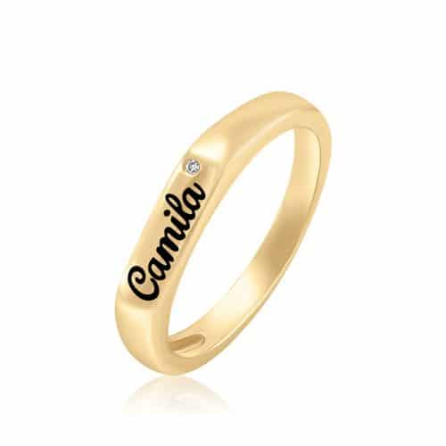 טבעת פס בשילוב יהלום
