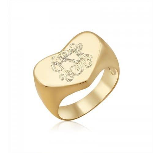 טבעת חותם לב מונוגרם