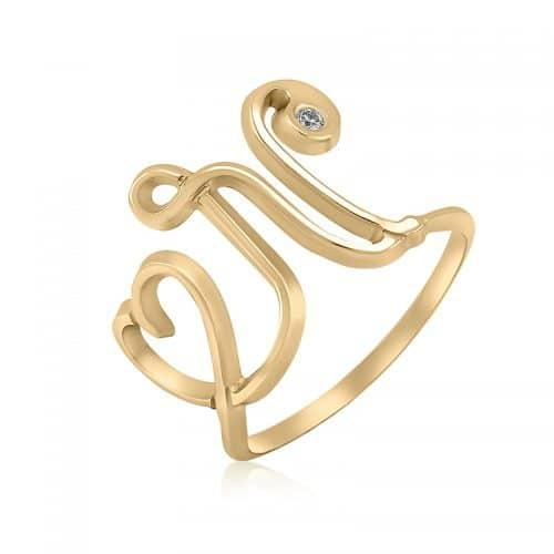 טבעת סריגה בשילוב אות לועזית ולב