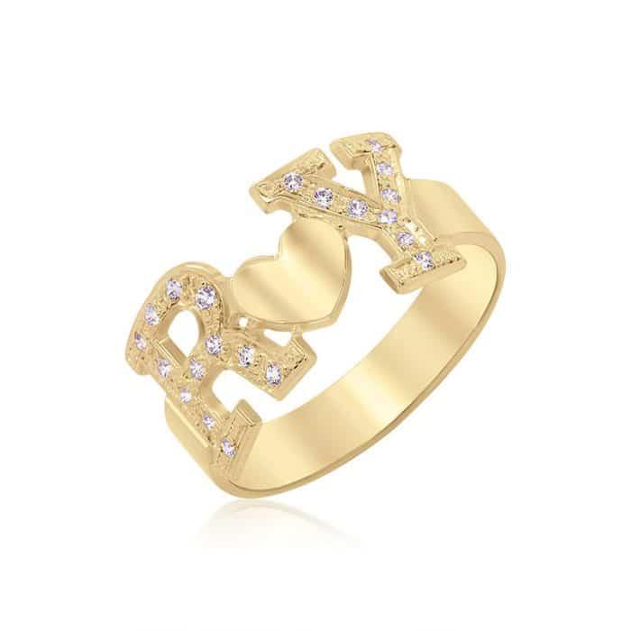 טבעת שתי אותיות משובצות בשילוב לב