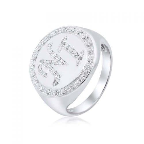 טבעת חותם משובץ זירקונים