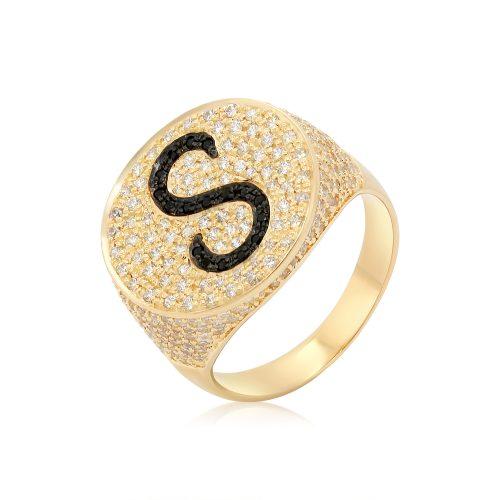 טבעת חותם משובצת זירקונים בשני צבעים