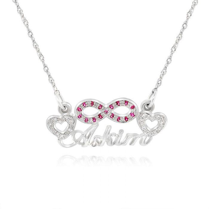 שרשרת שם משולבת אינפיניטי לבבות וזירקונים או יהלומים